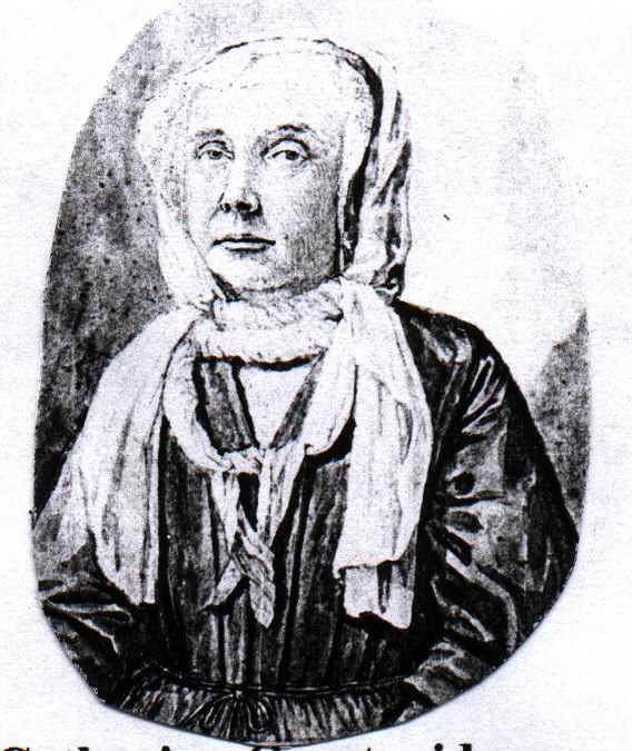 Catharina Schrader, gewassen pentekening door Jacob Folkema, 1714