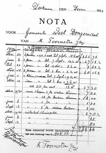 Nota van K. Toornstra Jzn