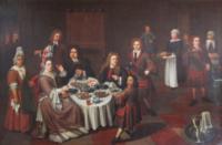 Schilderij Maaltijd te Dokkum met Philander in de schijnwerpers bij Rijksmuseum