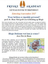 Lezing HISGIS door Hans Mol en Piet de Haan op zaterdag 4 november